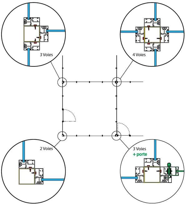 Plan du poteau d'angle de la cloison V70